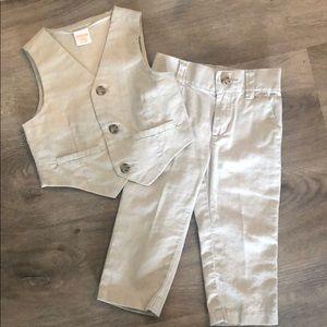 Gymboree tan linen Vest & Pant Set - 12-18mo